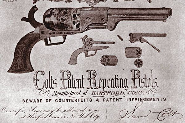 colt_advertising_early_1850s_factory_roll_engraved_scenes_percussion_revolvers_first_model_dragoon