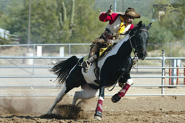The Wild West is still smokin' in this hard riding cowboy horseback competition.