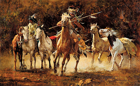 western-art-Howard-Terpning-Captured-Ponies