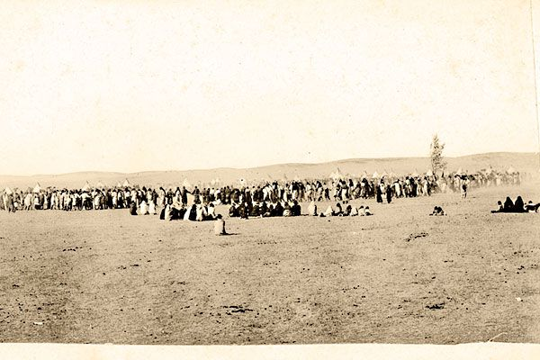 J.E. Meddaugh photographed these Lakota Sioux ghost dancers on the Pine Ridge Reservation, probably circa 1890. Misinformation about Wovoka's Ghost Dance movement led to the Wounded Knee Massacre on December 29, 1890. – Courtesy NATIONAL ANTHROPOLOGICAL ARCHIVES, SMITHSONIAN INSTITUTION –