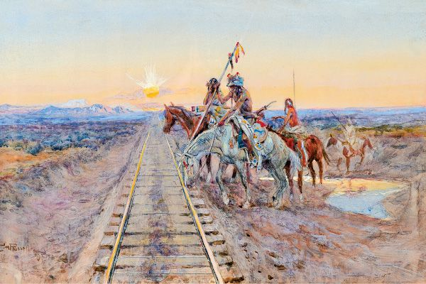 Trail-of-the-Iron-Horse-by-Charles-M-Russell