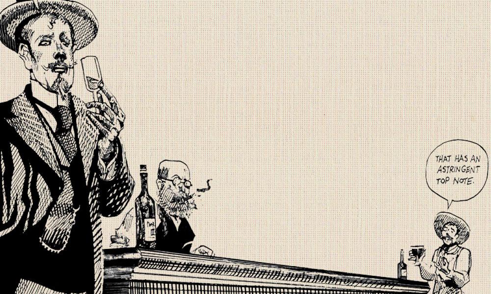 Depiction of Ike Clanton Drinking Wine