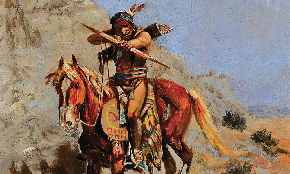 Charles Russel painting of Indian with Bow