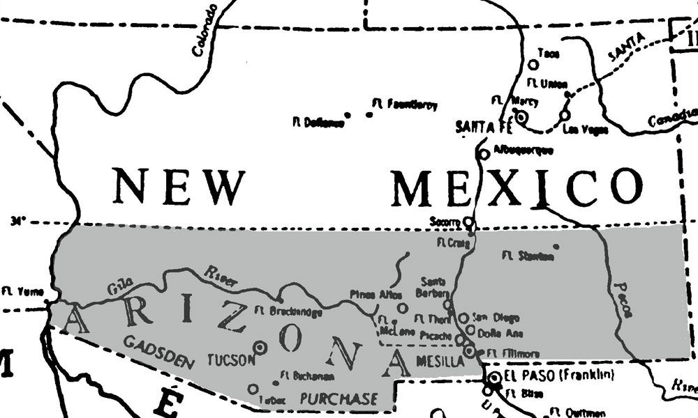 Map of the Gadsden Purchase