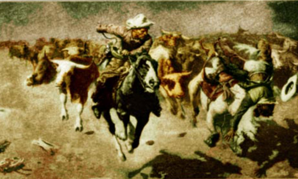 stampede by W.R. Leigh, 1915 True West