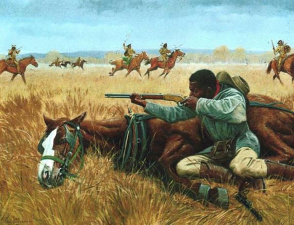 Britt Johnson raid aiming rifle horse lying