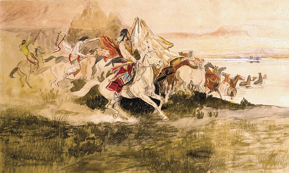 Charles M Russell True West Magazine Indians Herding Horses