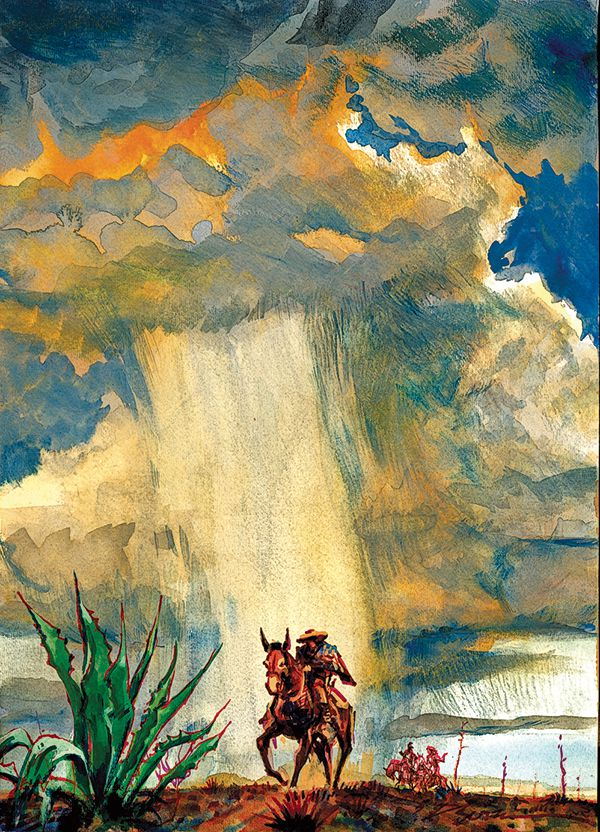 painting rider in monsoon by bob boze bell