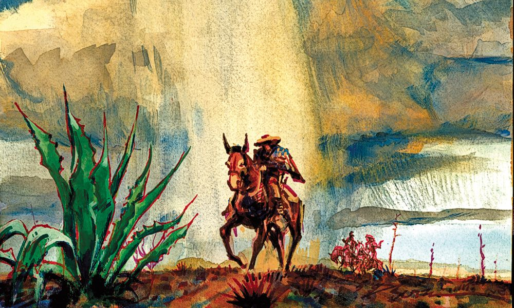 painting of rider in monsoon bob boze bell