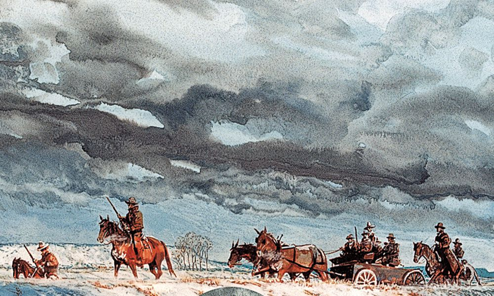 riding through snowstorm old west painting by bob boze bell