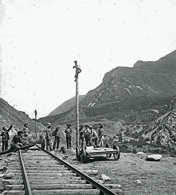telegraph corps working train transcontinental railroad true west magazine