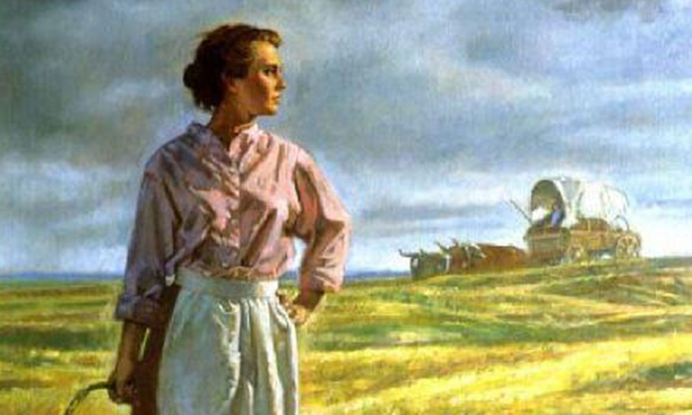 pioneer woman in a field holding a basket true west magazine