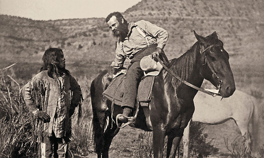 john wesley powell on a horse talking to a paiute chieg true west magazine