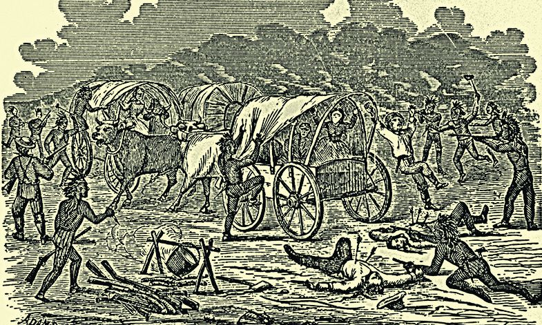wagon train attacked by indians illustration true west magazine