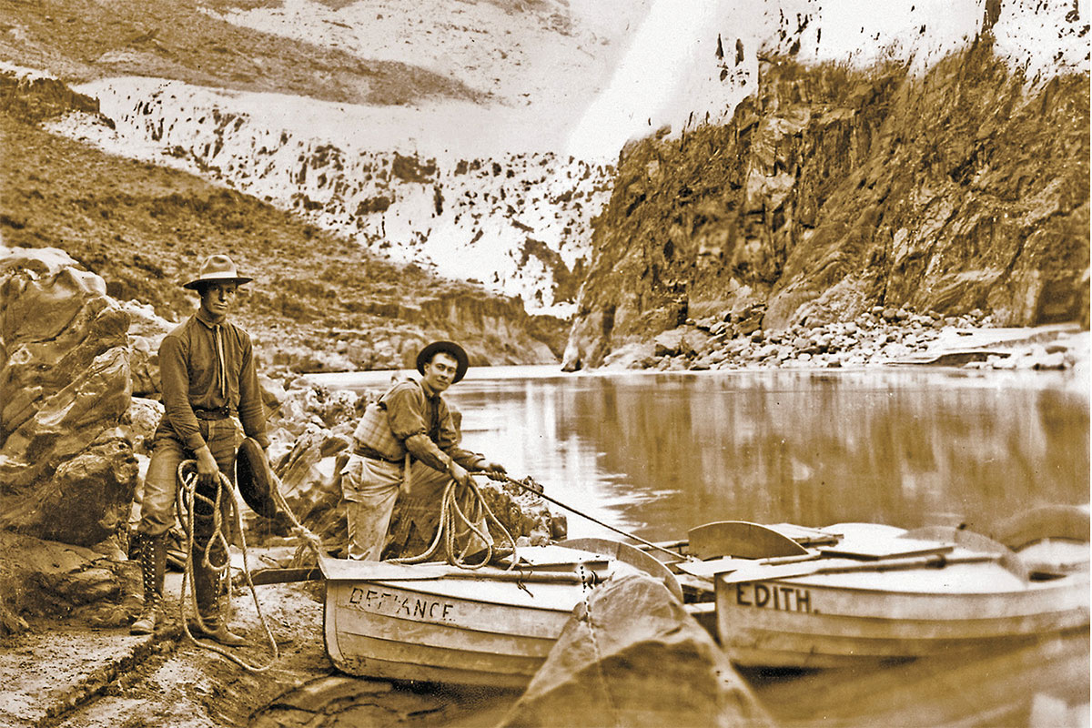 emery and ellsworth kolb with their boats defiance and edith true west magazine