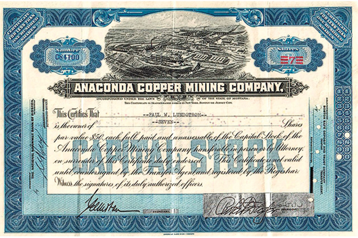 anaconda copper mining company blue certificate true west magazine