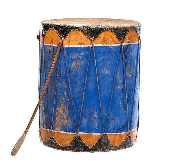 blue and orange wooden drum artifact true west magazine