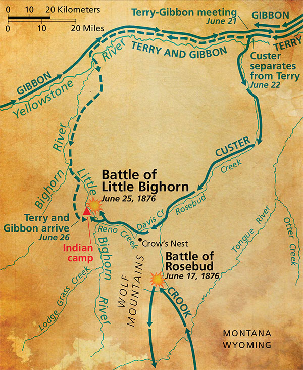 map of gunfight general crook crazy horse sitting bull true west magazine