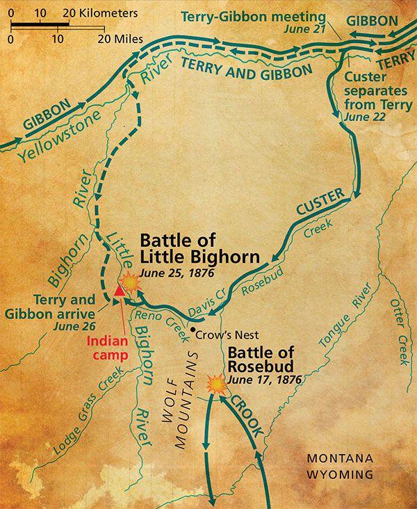 map of gunfight general crook crazy horse sitting bull true west magazine