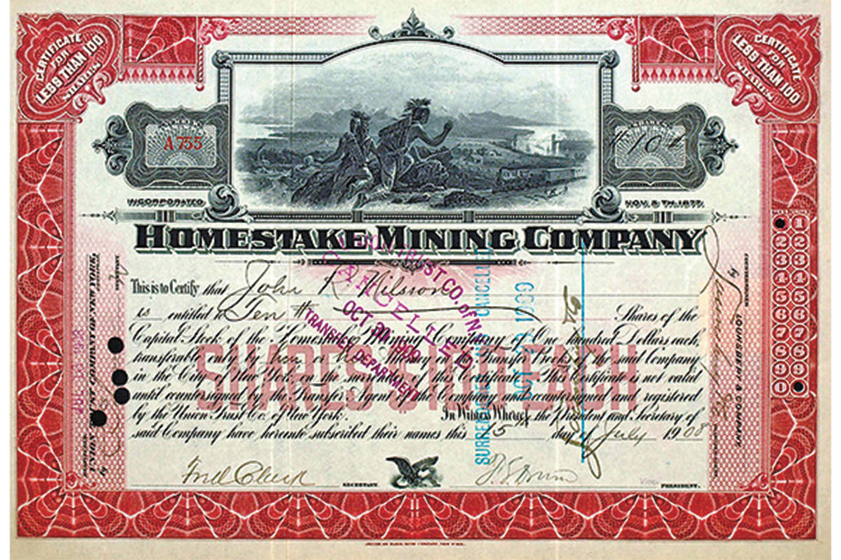 homestake mining company red certificate true west magazine