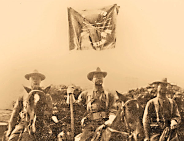 seminole indian scouts on horseback with flag true west magazine