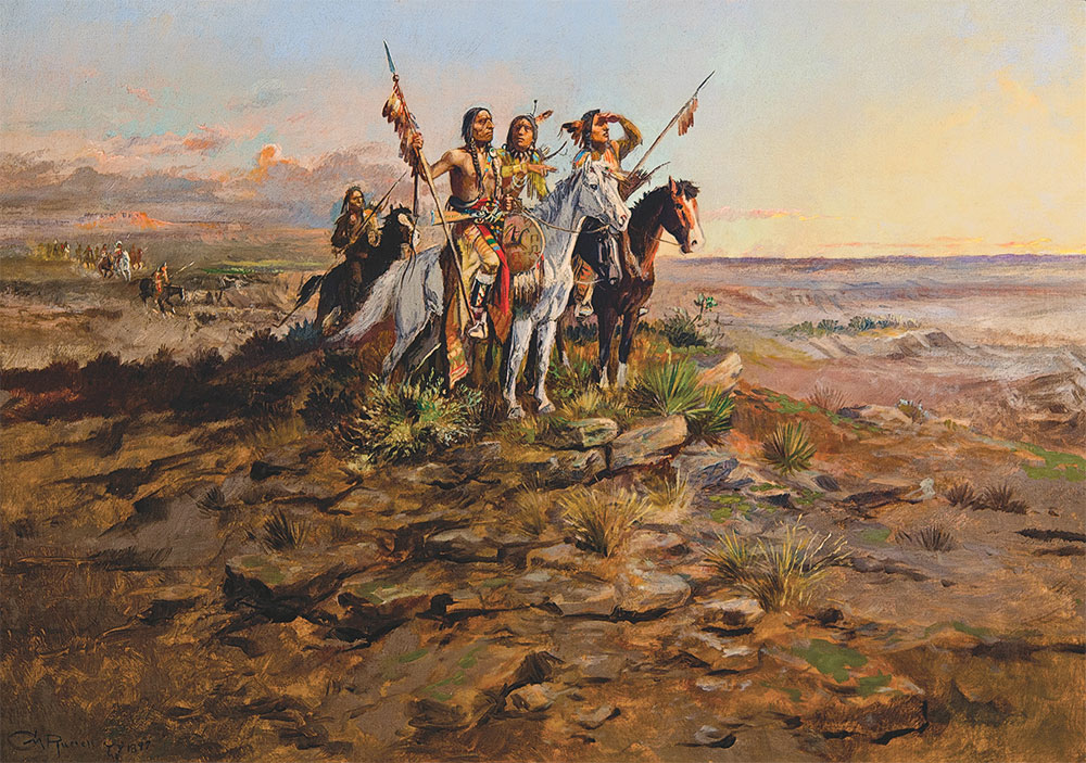 approach of the white men oil painting true west magazine