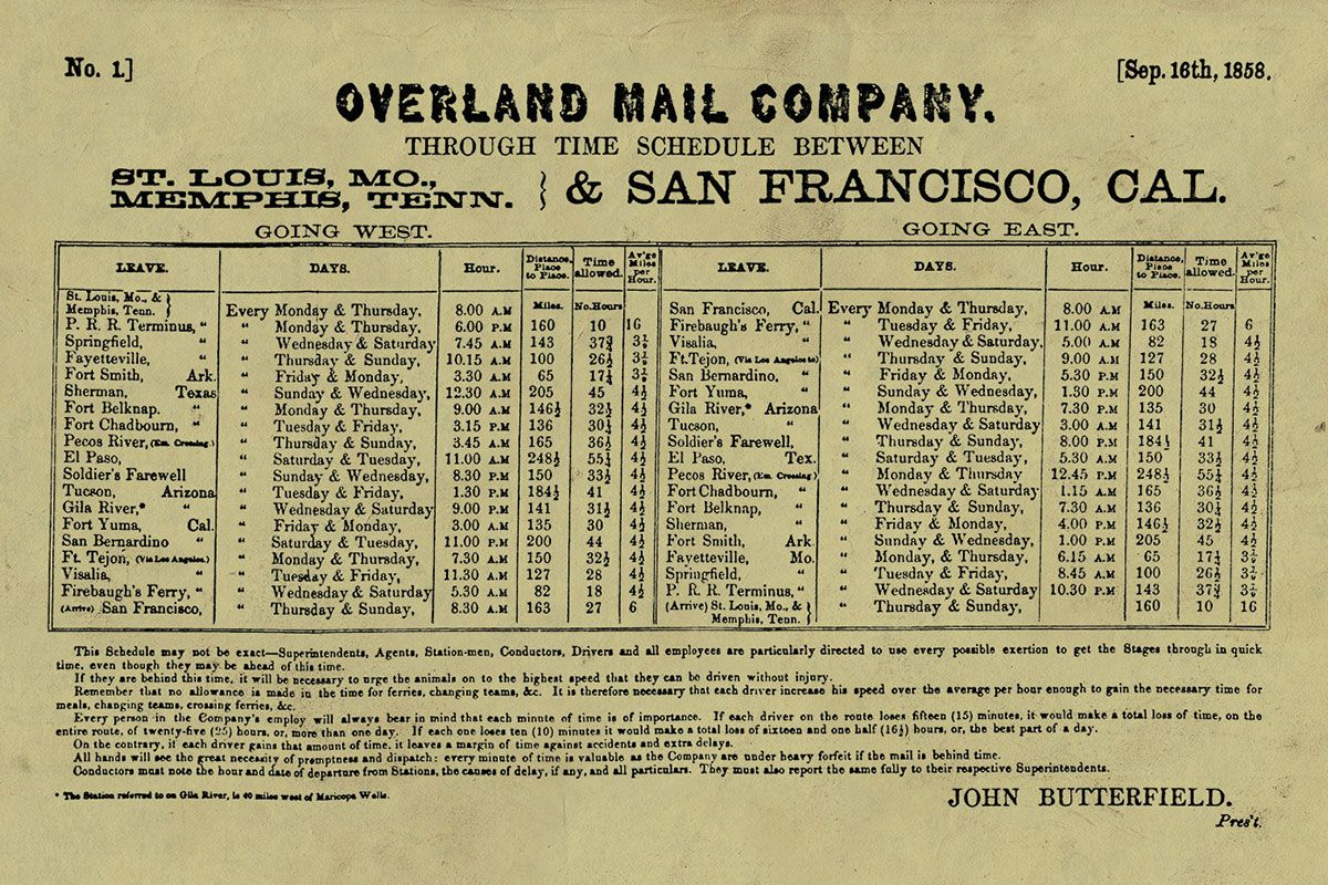 published time table overland mail company true west magazine